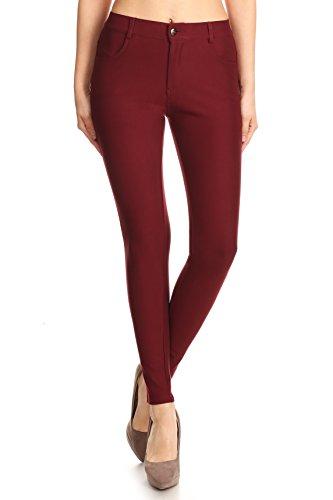 - ICONOFLASH Women's Ponte Knit Dress Pants (Wine Red, XL) 827NPT001PWNDXL