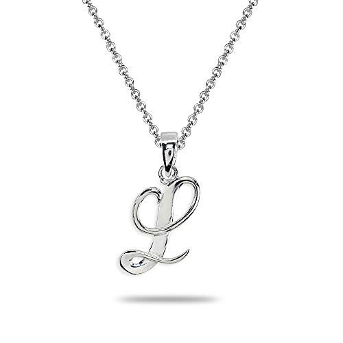 (Sterling Silver L Letter Initial Alphabet Name Personalized 925 Silver Pendant Necklace)