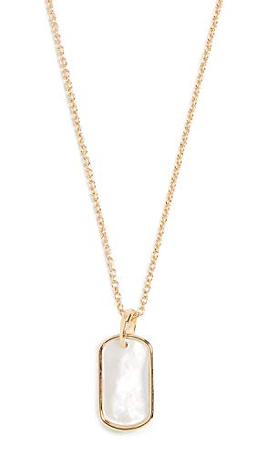 gorjana Women's Griffin Gem Dog Tag Necklace, Mother of Pearl, Off White, Gold, One Size (Griffin Jewelry)