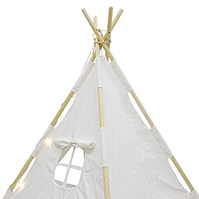 SUPER DEAL Teepee Tent Children Indiaian Playhouse Kids Play Room w/ Ferry Lights + Feathers + Waterproof Base + Canvas Mat and Carry Case: Toys & Games