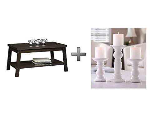 Storage Shelf Coffee Table in Espresso Walnut with Candle Holders Ceramic Pillar Set of 3 - Bundle Set