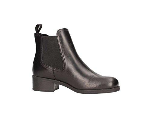 FRAU Tobillo Botas de Los Zapatos de Cuero Botas de Tacos Beatles de 94T4 Las Mujeres Negras Negro