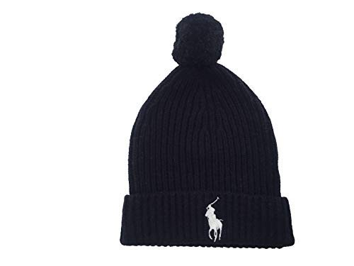 Polo Ralph Lauren Mens Windsor Polo Big Pony Ribbed Cuffed Pom Pom Beanie (Navy(433)/White, One Size) ()