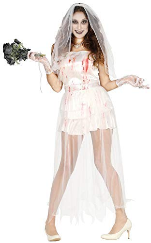 Ladies Sexy Ghost Dead Corpse Bride Halloween Fancy Dress Costume Outfit (UK 10-12)
