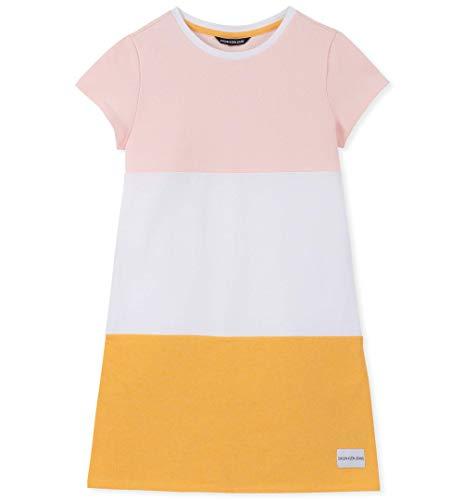 Calvin Klein Big Girls' Short Sleeve Color Block Dress, Pastel Pink L12/14