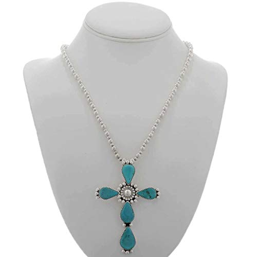 Handmade Turquoise Cross Pendant Navajo With Bead Necklace 1819 ()