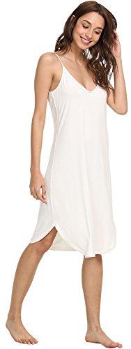 (NEIWAI Womens Full Slip Spaghetti Strap Chemise Nightgown Cami Dress White L)