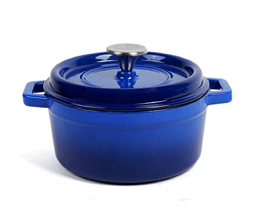 Keleday Blue Enameled Cast Iron Dutch Oven 4.2QT. Cast Iron Casserole.Enameled Dutch Oven With Lid.Cast Iron Enamel Dutch Oven