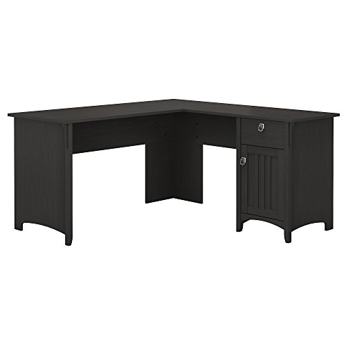 Bush Furniture Salinas L Shaped Desk with Storage in Vintage - Distressed Black Finish Corner