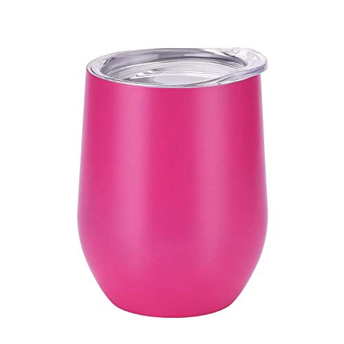 12 oz Stemless Wine Glass Tumbler Insulated Stainless Steel Travel Mug with Lid,Fuchsia