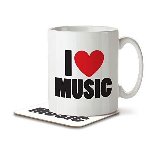 Mug and Coaster by Inky Penguin I Love Music