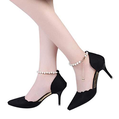 Perlées Pour Cheville Femmes Rose Talons Taille 5 À Sandales Uk Rouge La Qiusa coloré Mode 4 Hauts qIY1A