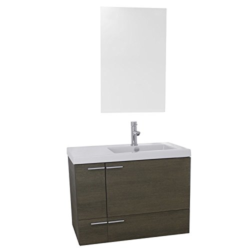 ACF ANS557 New Space Bathroom Vanity with Fitted Ceramic Sink Wall Mounted and Mirror Included, 31