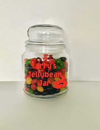 Great gift for the jellybean lover Personalized Jellybean Glass Jar with Lid