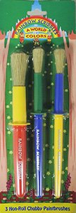 3 Pc. Rainbow Scribbles Non-roll Chubby Paintbrushes
