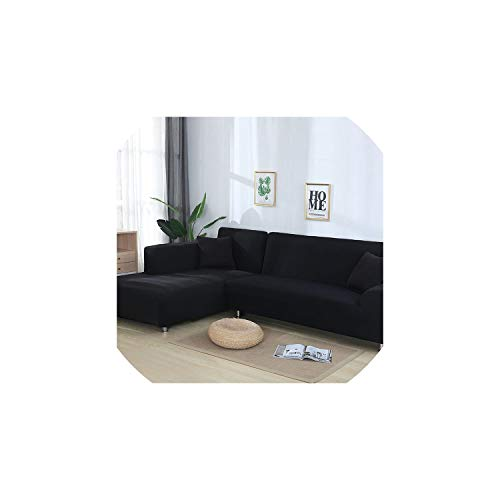Sofa coverGrey Color Elastic Couch Sofa Cover Loveseat Cover Sofa Covers for Living Room Sectional Sofa Slipcover Armchair Furniture Cover,Black,2-Seater 145-185cm ()