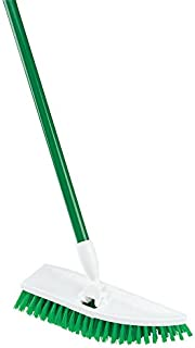 """product image for Libman Commercial 122 No Knees Floor Scrub, Steel Handle, 11"""" Wide, Green and White (Pack of 4)"""