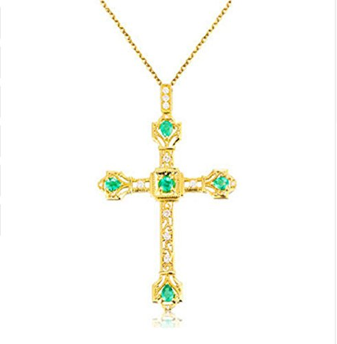 GOWE Vintage Cross Natural Emerald Diamond Pendant 18K Yellow Gold Handmade Cross Real (Emerald 18k Gold Cross Jewelry)