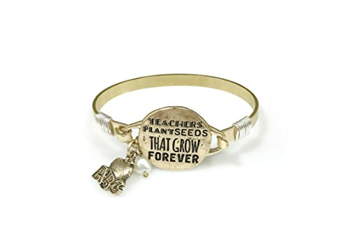 TEACHERS PLANT SEEDS THAT GROW FOREVER Bangle Bracelet with ABC Apple Charm and Pearl Bead (Worn Gold)