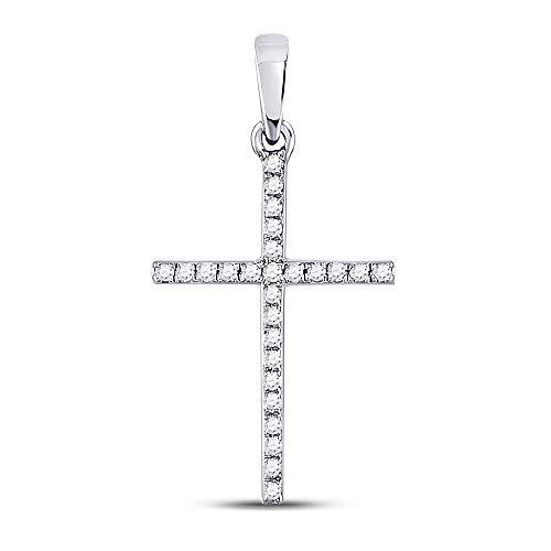 The Diamond Deal 10kt White Gold Womens Round Diamond Roman Cross Faith Pendant 1/6 Cttw