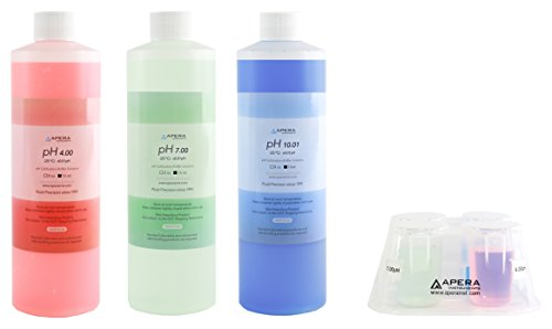 Apera Instruments AI1116 pH Calibration Solution Kit (7.00, 4.00, 10.01), 16 oz. for Each, Plus a CalBox for Easy Organization of All Buffer Solutions, HDPE (High Density Polyethylene)