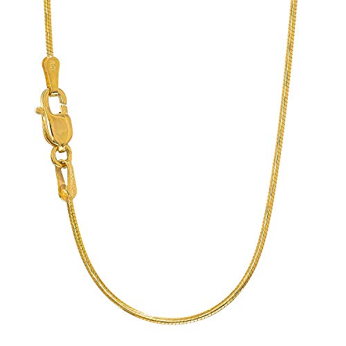 JewelStop 14k Solid Yellow Gold 0.9 mm Round Snake Chain Necklace, Lobster Claw Clasp - 18