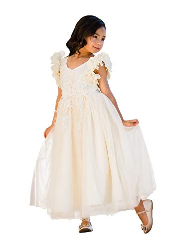 Little Girls Ivory Petal Sleeve Satin Lace Floor Length Flower Girl Dress 3 from Just Couture