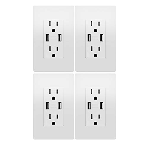 Outlet with USB, High Speed Charger 4.2A Charging Capability, Child Proof Safety Duplex Receptacle 15 Amp, Tamper Resistant Wall Socket Plate Included UL Listed MICMI, 4.2A USB outlet 4pack