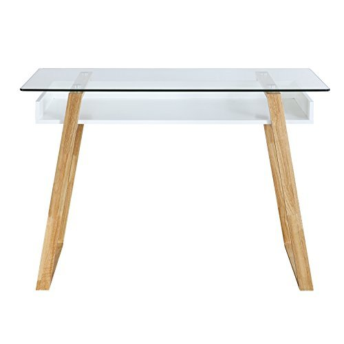 Poly and Bark Segovia Desk in Natural, Glass Top by Poly and Bark