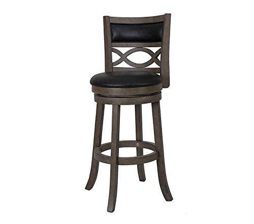 Manchester Swivel - Manchester Swivel Bar Stool Black 29-Inch Antique Grey Decor Comfy Living Furniture Deluxe Premium Collection