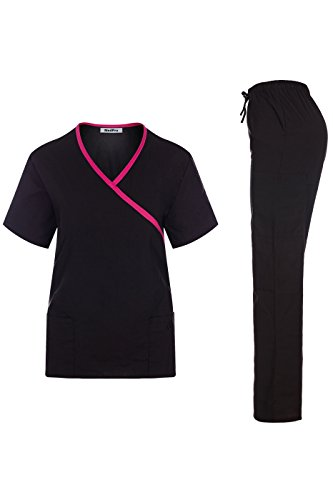 MedPro Women's Contrast Trimmed Solid Medical Scrub Set Mock Wrap Top and Cargo Pants Black & Pink L (GT-756)