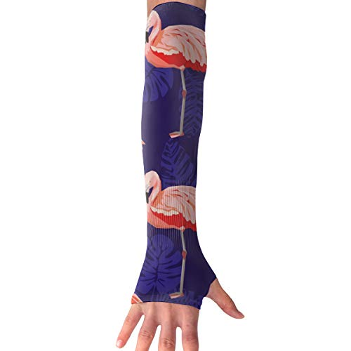 MASDUIH Flamingo Sketch Gloves Anti-uv Sun Protection Long Fingerless Arm Cooling Sleeve