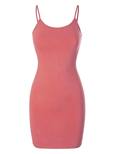 (Design by Olivia Women's Casual Sleeveless Spaghetti Strap Stretch Cami Slip Bodycon Short Mini Dress Dusty Rose XL)