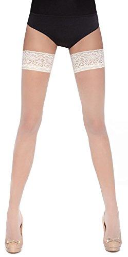 Bas Bleu - Medias altas (alta calidad, tallas: S, M y L, con liguero sobre las rodillas), diseños diferentes, colores surtidos Lorenza Weiß