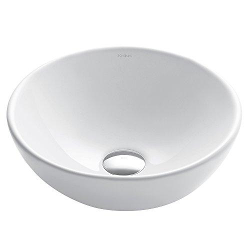 (Kraus KCV-341 Elavo White Ceramic Small Round Vessel Bathroom Sink)