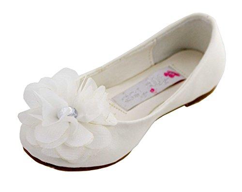 Matte Satin Rhinestone Shoe (Cinderella Shimmer Flats (Childrens 10, Ivory))