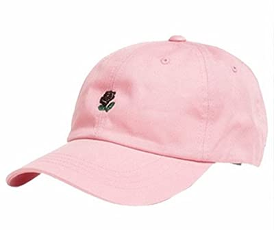 CieKen Rose Embroidered Dad Hat Women Men Cute Adjustable Cotton Floral Baseball Cap from CieKen