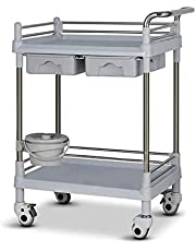 2 Tier Beauty Salon Utility Cart,ABS Rolling Service Cart with Drawer &Dirt Bucket,Hospital/Beauty Salon/Laboratory Instrument Tool Cars (Color : Gray)