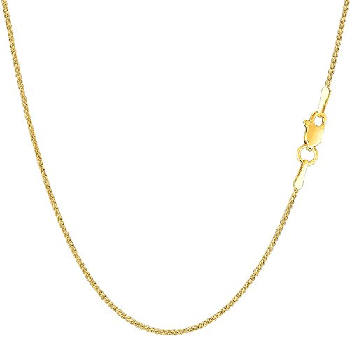 MCS Jewelry 14 Karat White OR Yellow Gold Round Diamond-Cut Wheat Chain Necklace 1.2mm (Length: 16