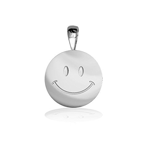 (Sziro More Themes Jewelry Small Happy, Smiley Face Charm in Sterling Silver)