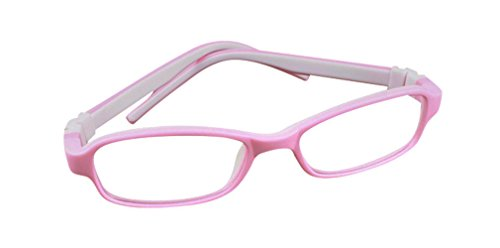 Deding Kids Optical Eyeglasses No Screw Bendable with Stringa and Case ,Children Tr90&silicone Safe Flexible Glasses Frame (Pink White)