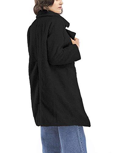 Abrigo Outerwear Prendas Chaquetas Moda Exteriores Especial Schwarz Manga Elegantes Estilo Unicolor De Otoño Invierno Chaqueta Anchas Solapa Mujer Larga raTv8rZ