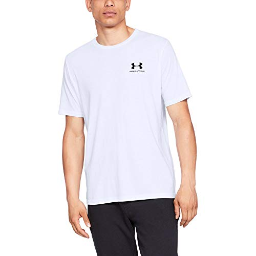 - Under Armour Men's Sportstyle Left Chest T-Shirt, White (100)/Black, Small