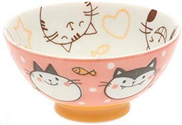 2 Pc Japanese Pink Wonderful Kat Rice Bowl Set Includes 2 Bowls #130-499