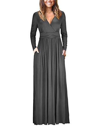 OUGES Womens Long Sleeve V-Neck Wrap Waist Maxi Dress(Gray,M)