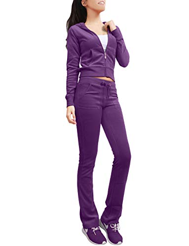 NE PEOPLE Womens Casual Basic Velour Zip Up Hoodie Sweatsuit Tracksuit Set S-3XL Purple