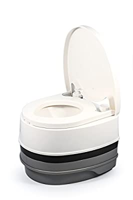 Camco 41535 Premium Portable Travel Toilet   2.6 gallon   Three Directional Flush and Swivel Dumping Elbow   Designed for Camping, RV, Boating and Other Recreational Activities
