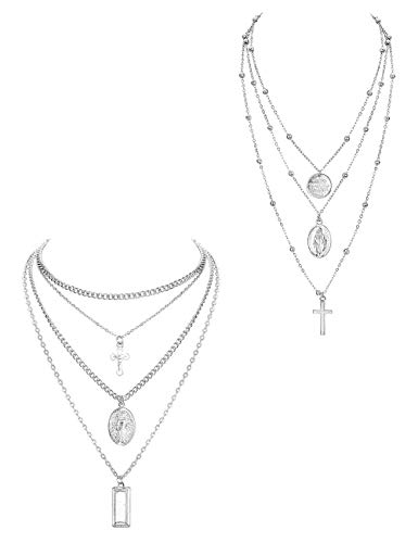 ORAZIO 2PCS Layered Necklace for Women Girl Cross Blessed Virgin Mary Pendant Necklace Chain Silver Tone