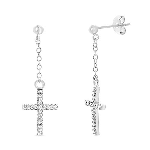 nia Cross Dangle Post Earring in Rhodium Plated Brass ()