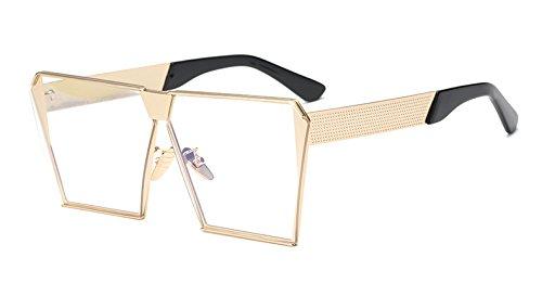 gold azul sobredimensionado clear sol frío Gafas lens de de mujer with Sunglasses hombre gafas claro espejo lentes TL 67wvgaqFa